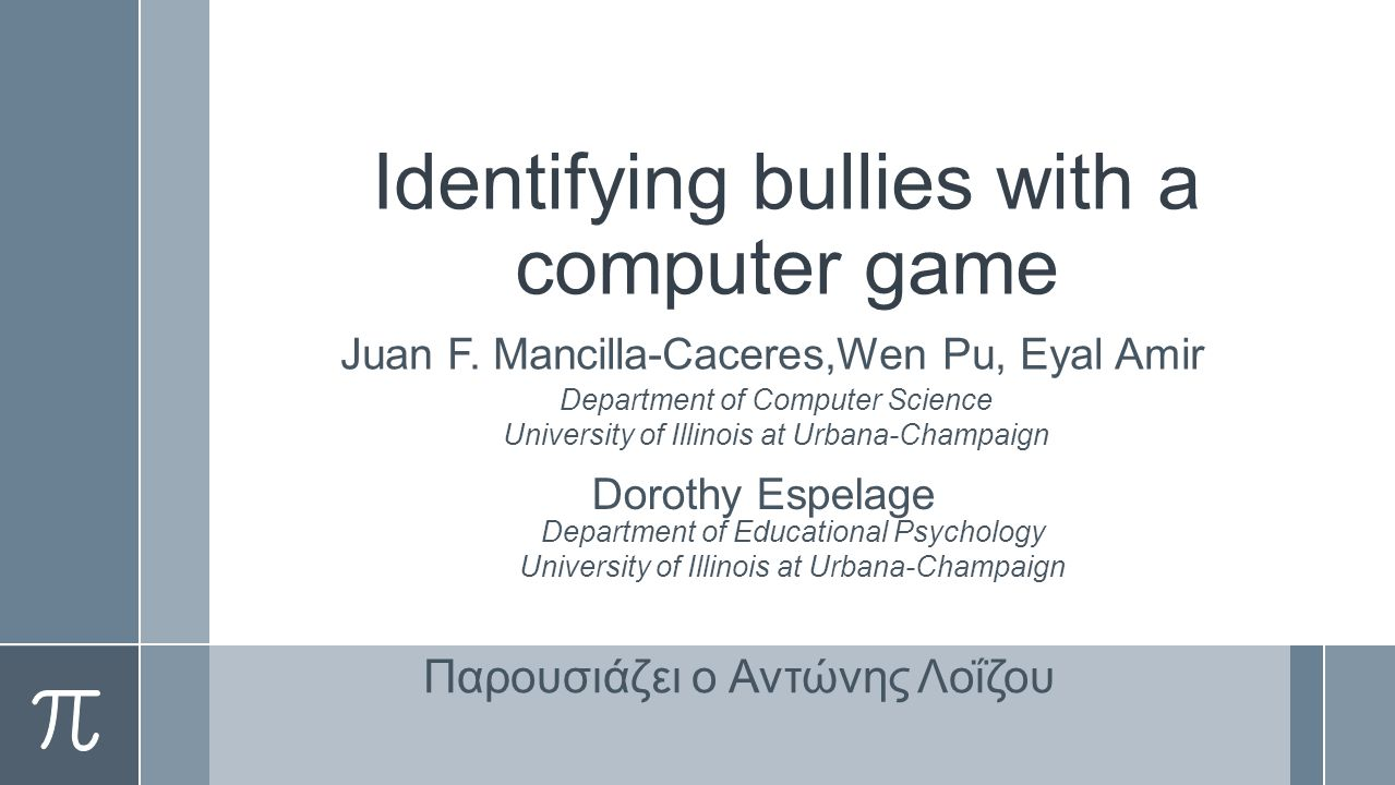 Identifying bullies with a computer game Juan F.