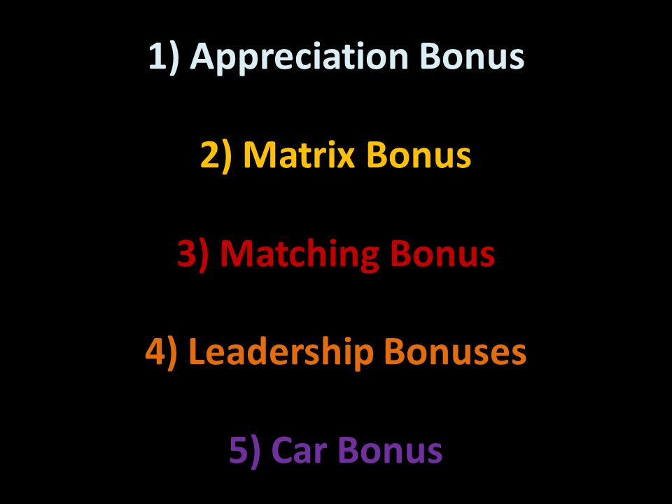 1) Appreciation Bonus 2) Matrix Bonus 3) Matching Bonus 4) Leadership Bonuses 5) Car Bonus