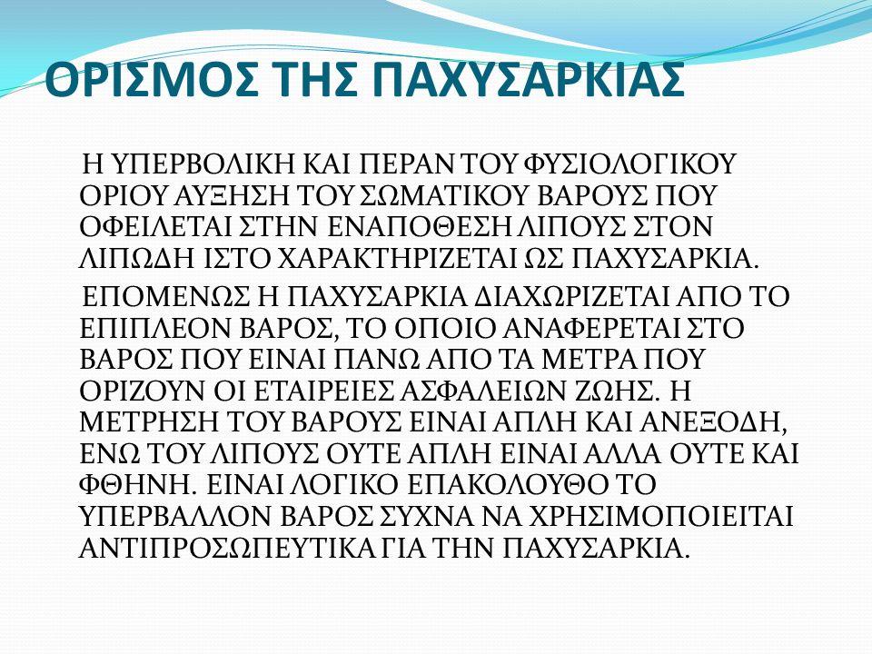 ΟΡΙΣΜΟΣ ΤΗΣ ΠΑΧΥΣΑΡΚΙΑΣ Η ΥΠΕΡΒΟΛΙΚΗ ΚΑΙ ΠΕΡΑΝ ΤΟΥ ΦΥΣΙΟΛΟΓΙΚΟΥ ΟΡΙΟΥ  ΑΥΞΗΣΗ ΤΟΥ ΣΩΜΑΤΙΚΟΥ ΒΑΡΟΥΣ ΠΟΥ ΟΦΕΙΛΕΤΑΙ 3e775b9c942