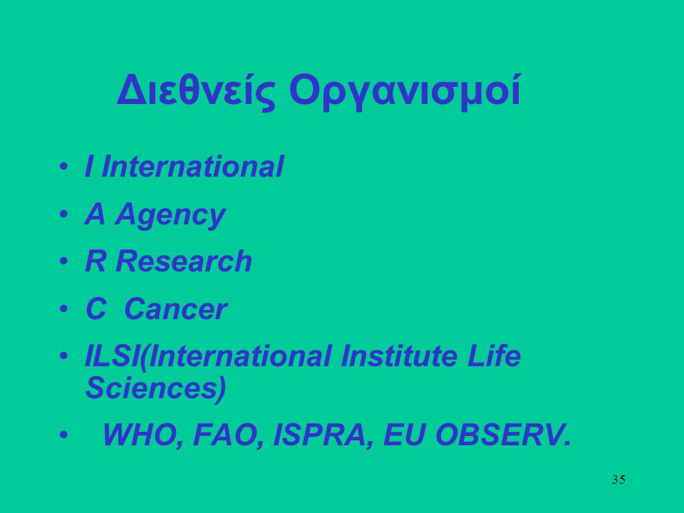 35 Διεθνείς Οργανισμοί Ι International Α Agency R Research C Cancer ILSI(International Institute Life Sciences) WHO, FAO, ISPRA, EU OBSERV.