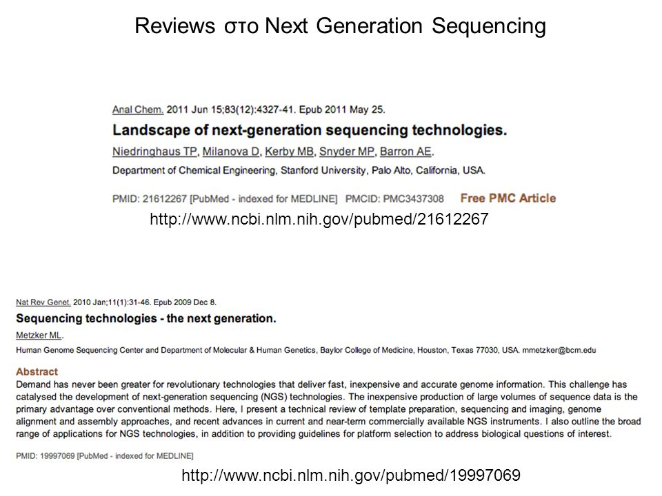 Reviews στο Next Generation Sequencing