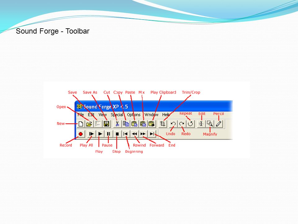 Sound Forge - Toolbar