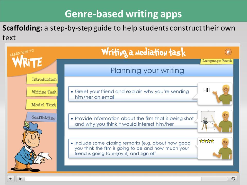 Genre-based writing apps Scaffolding: a step-by-step guide to help students construct their own text