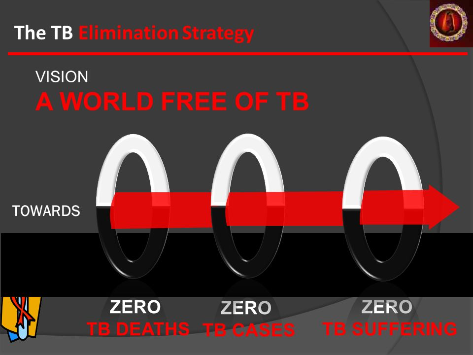 ZERO TB DEATHS VISION A WORLD FREE OF TB The TB Elimination Strategy ZERO TB CASES ZERO TB SUFFERING TOWARDS