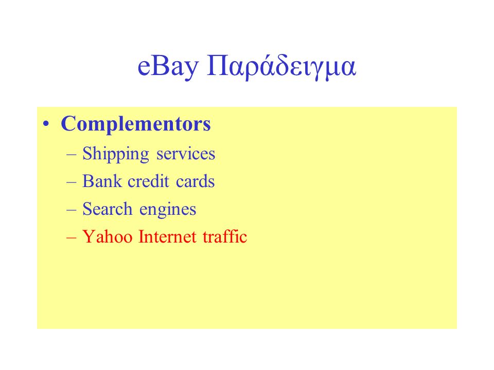 eBay Παράδειγμα Complementors –Shipping services –Bank credit cards –Search engines –Yahoo Internet traffic