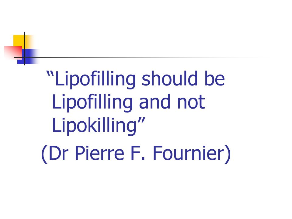 Lipofilling should be Lipofilling and not Lipokilling (Dr Pierre F. Fournier)
