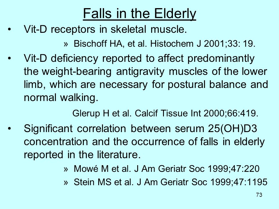 73 Falls in the Elderly Vit-D receptors in skeletal muscle.