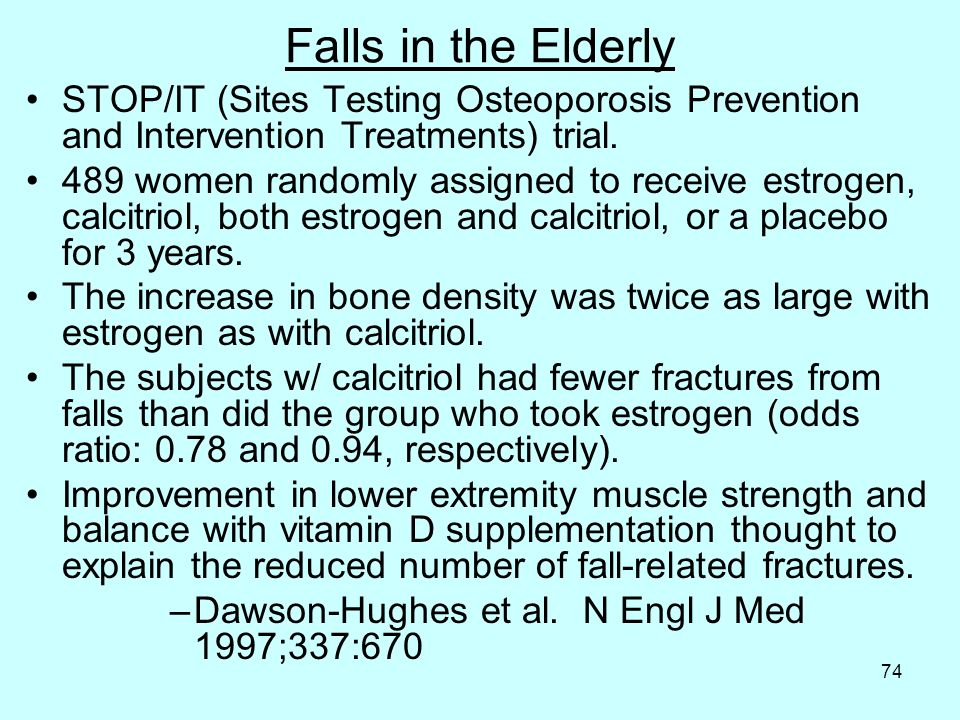 74 Falls in the Elderly STOP/IT (Sites Testing Osteoporosis Prevention and Intervention Treatments) trial.