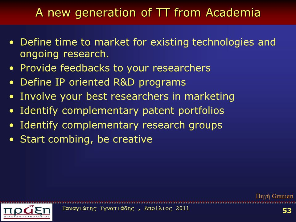 Παναγιώτης Ιγνατιάδης, Απρίλιος A new generation of TT from Academia Define time to market for existing technologies and ongoing research.