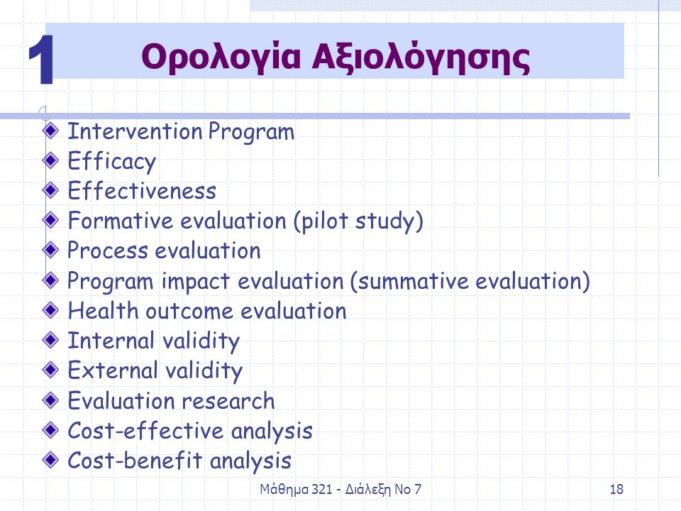 Μάθημα Διάλεξη Νο 718 Ορολογία Αξιολόγησης Intervention Program Efficacy Effectiveness Formative evaluation (pilot study) Process evaluation Program impact evaluation (summative evaluation) Health outcome evaluation Internal validity External validity Evaluation research Cost-effective analysis Cost-benefit analysis