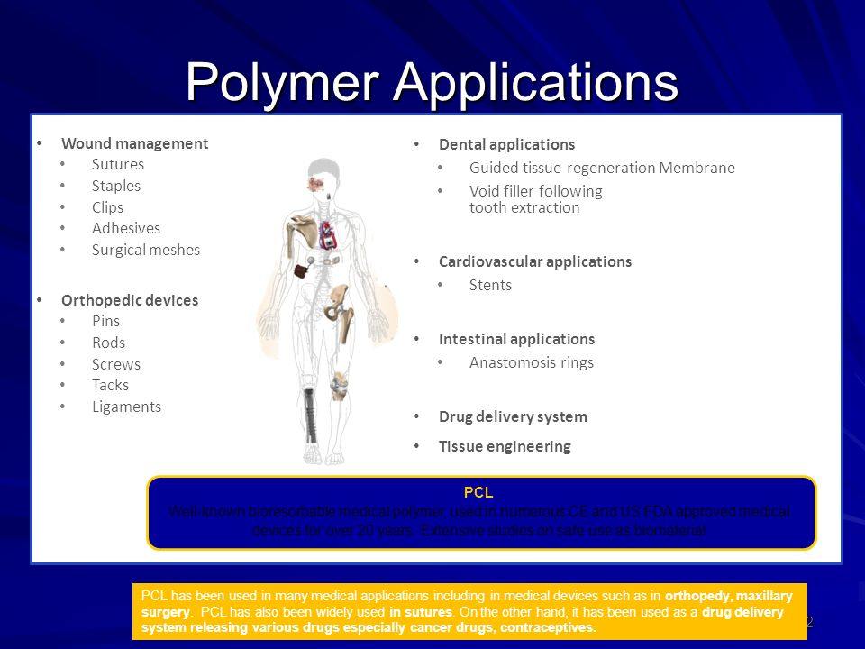 Polymer Applications 22 Wound management Sutures Staples Clips Adhesives Surgical meshes Orthopedic devices Pins Rods Screws Tacks Ligaments Dental applications Guided tissue regeneration Membrane Void filler following tooth extraction Cardiovascular applications Stents Intestinal applications Anastomosis rings Drug delivery system Tissue engineering PCL Well-known bioresorbable medical polymer, used in numerous CE and US FDA approved medical devices for over 20 years.