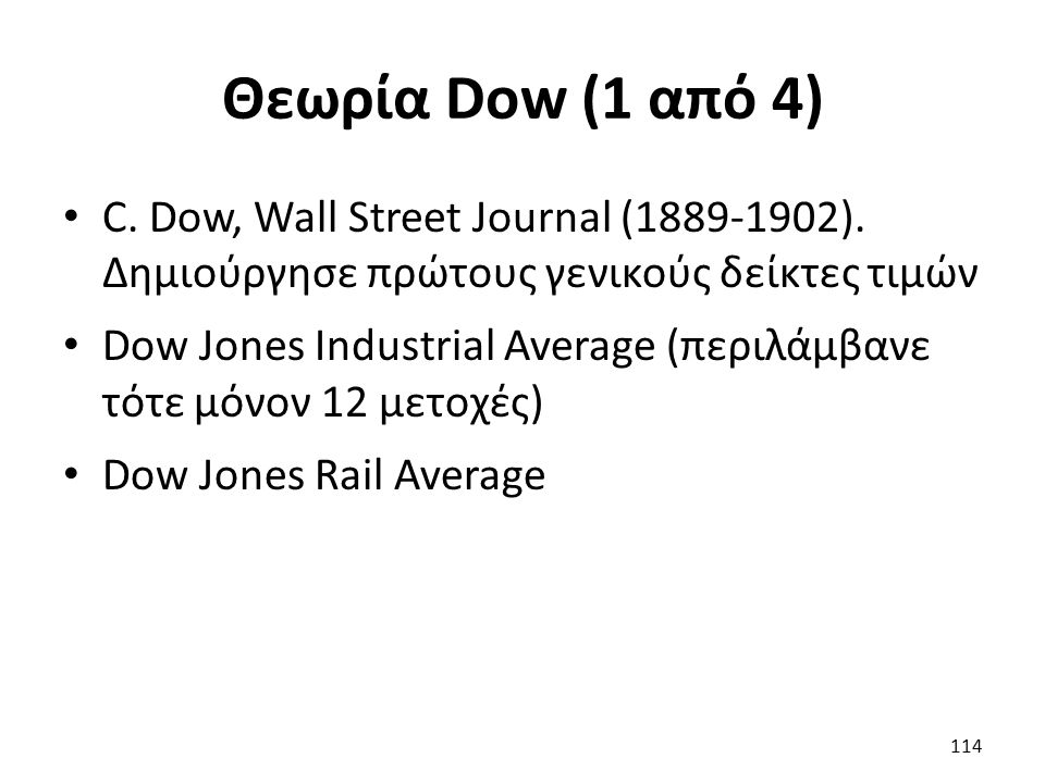 Θεωρία Dow (1 από 4) C. Dow, Wall Street Journal (1889-1902).