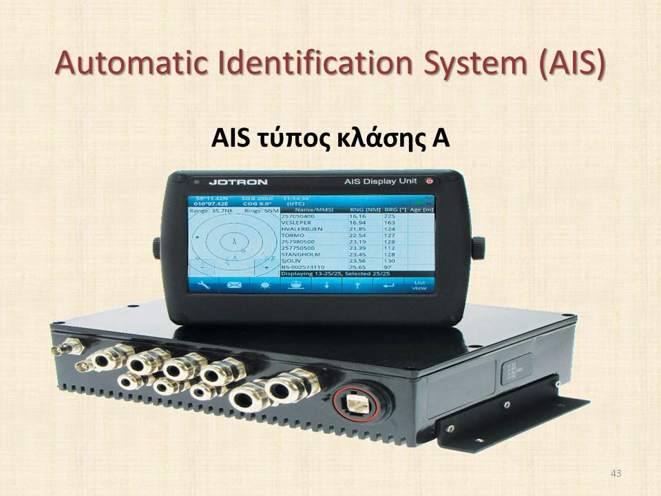 Automatic Identification System (AIS) AIS τύπος κλάσης A 43