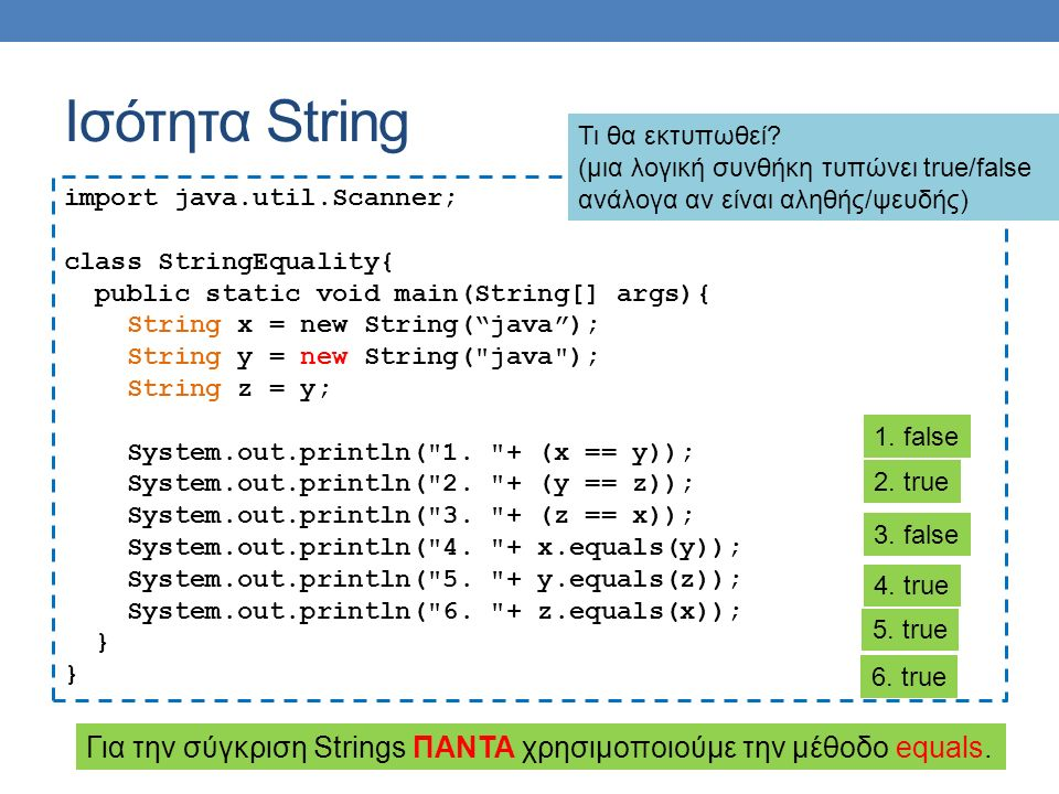 Ισότητα String import java.util.Scanner; class StringEquality{ public static void main(String[] args){ String x = new String( java ); String y = new String( java ); String z = y; System.out.println( 1.