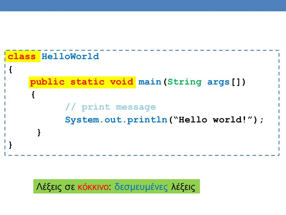 class HelloWorld { public static void main(String args[]) { // print message System.out.println( Hello world! ); } Λέξεις σε κόκκινο: δεσμευμένες λέξεις