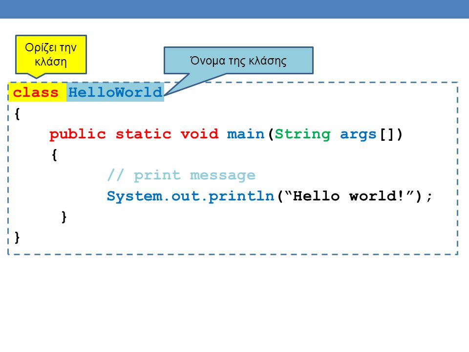 class HelloWorld { public static void main(String args[]) { // print message System.out.println( Hello world! ); } Ορίζει την κλάση Όνομα της κλάσης