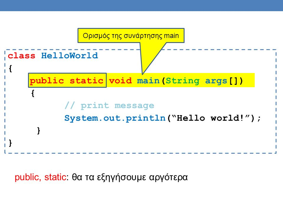 class HelloWorld { public static void main(String args[]) { // print message System.out.println( Hello world! ); } Ορισμός της συνάρτησης main public, static: θα τα εξηγήσουμε αργότερα