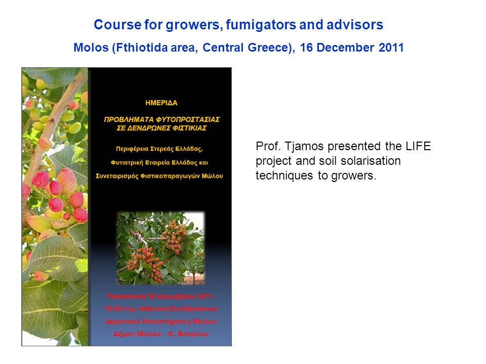 Course for growers, fumigators and advisors Molos (Fthiotida area, Central Greece), 16 December 2011 Prof.