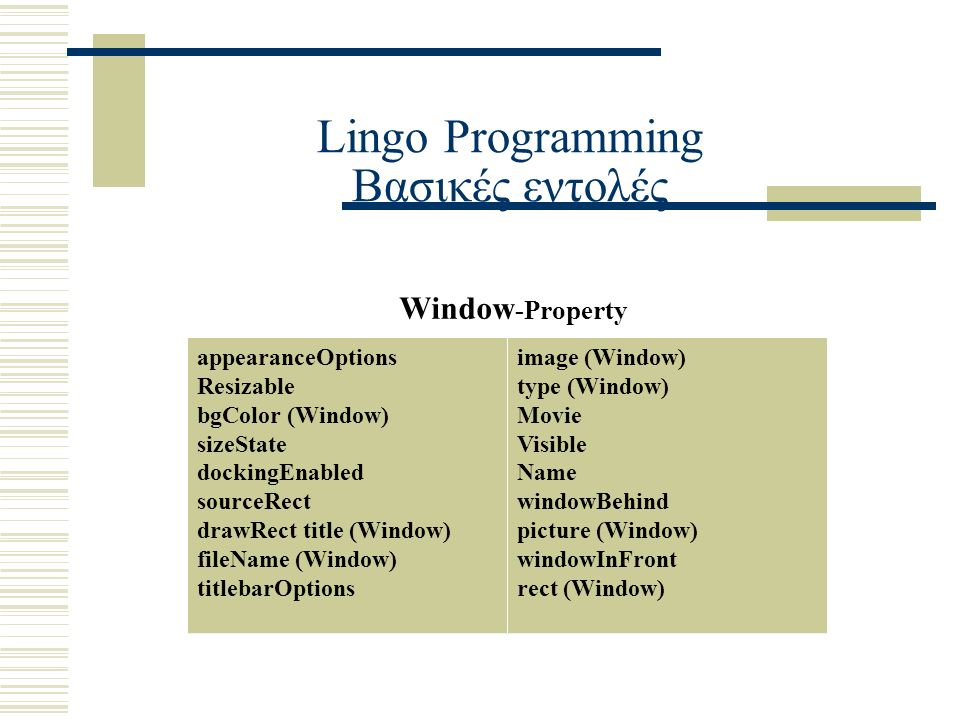 Lingo Programming Βασικές εντολές Window -Property appearanceOptions Resizable bgColor (Window) sizeState dockingEnabled sourceRect drawRect title (Window) fileName (Window) titlebarOptions image (Window) type (Window) Movie Visible Name windowBehind picture (Window) windowInFront rect (Window)
