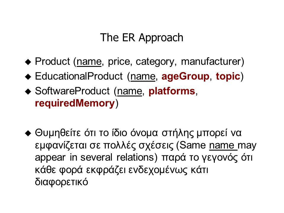 The ER Approach u Product (name, price, category, manufacturer) u EducationalProduct (name, ageGroup, topic) u SoftwareProduct (name, platforms, requiredMemory) u Θυμηθείτε ότι το ίδιο όνομα στήλης μπορεί να εμφανίζεται σε πολλές σχέσεις (Same name may appear in several relations) παρά το γεγονός ότι κάθε φορά εκφράζει ενδεχομένως κάτι διαφορετικό