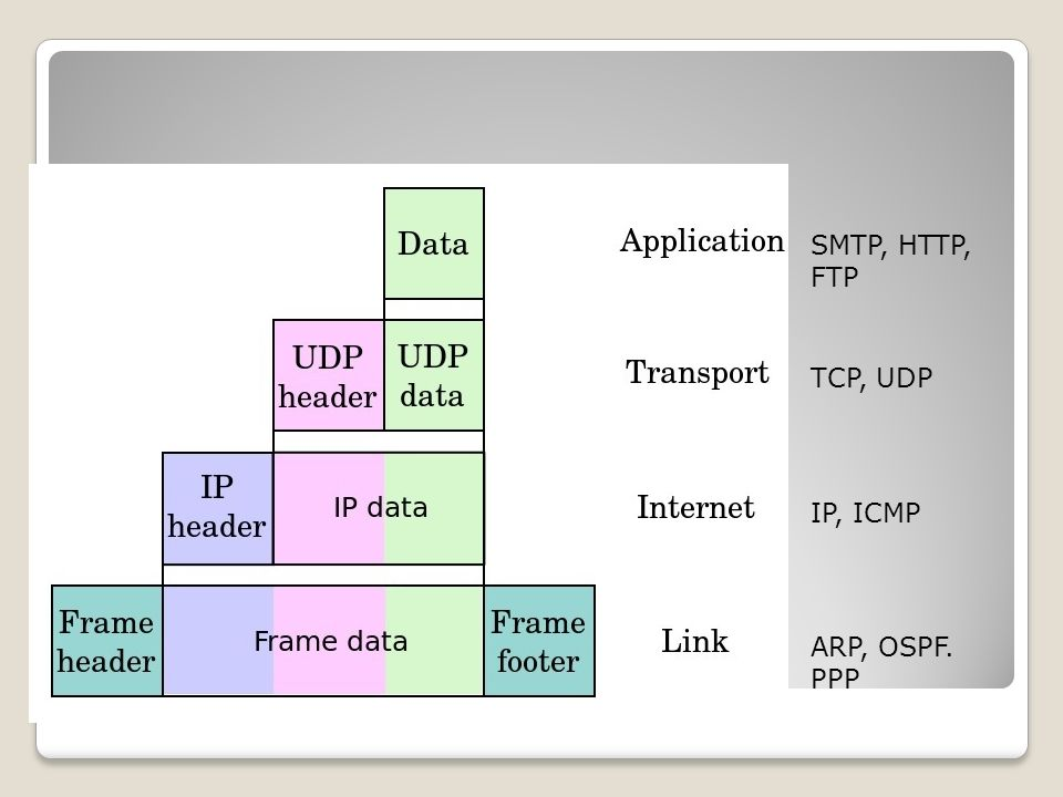 TCP/IP (encapsulation) SMTP, HTTP, FTP TCP, UDP IP, ICMP ARP, OSPF. PPP