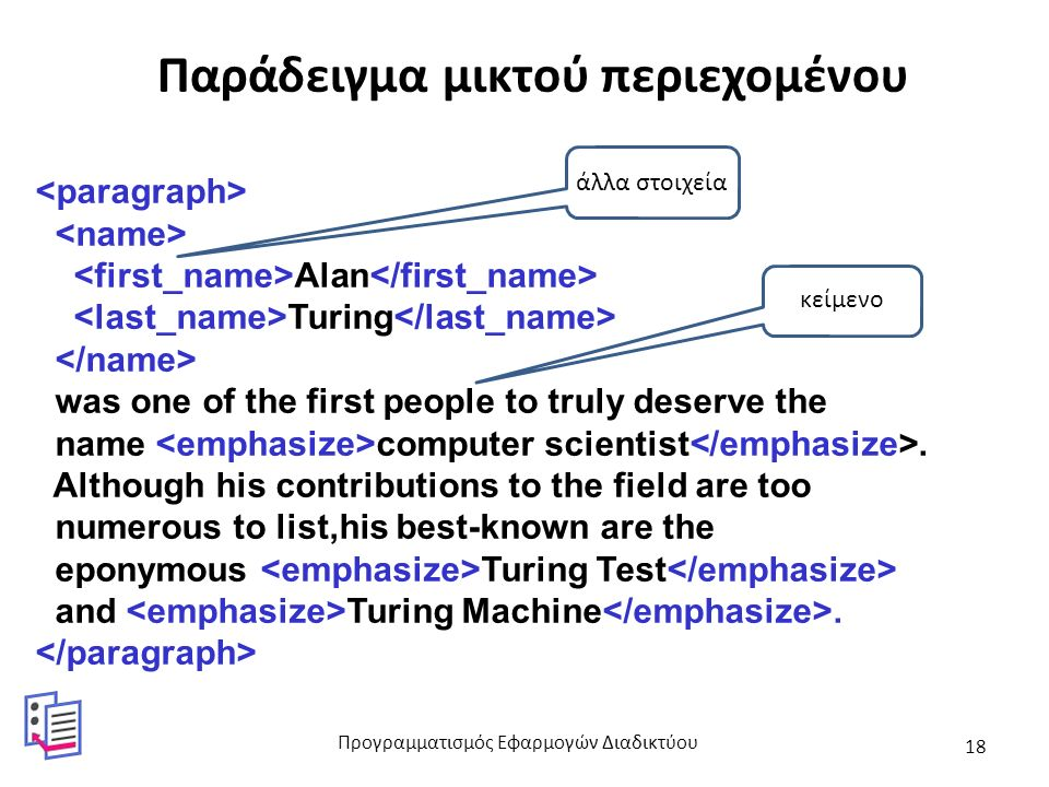 Παράδειγμα μικτού περιεχομένου Alan Turing was one of the first people to truly deserve the name computer scientist.