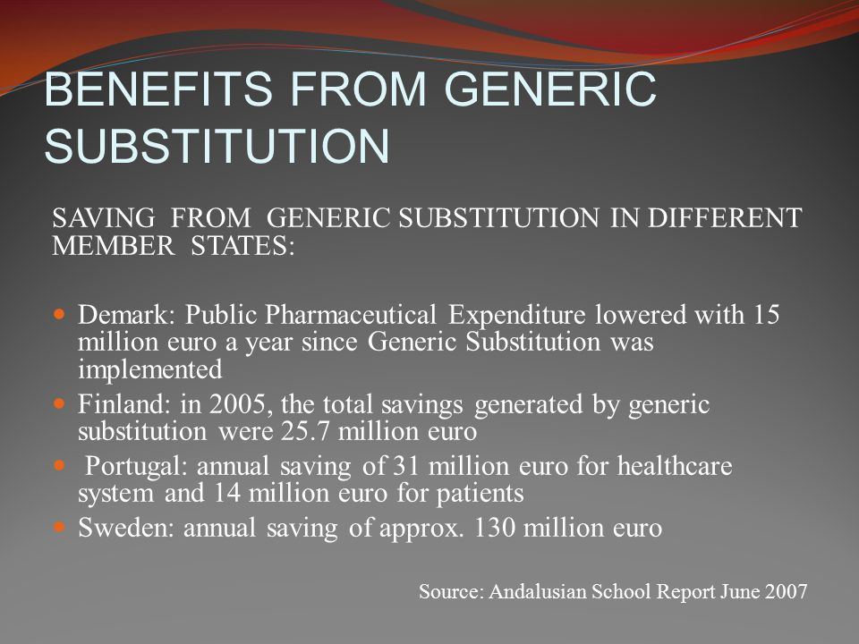 BENEFITS FROM GENERIC SUBSTITUTION SAVING FROM GENERIC SUBSTITUTION IN DIFFERENT MEMBER STATES: Demark: Public Pharmaceutical Expenditure lowered with 15 million euro a year since Generic Substitution was implemented Finland: in 2005, the total savings generated by generic substitution were 25.7 million euro Portugal: annual saving of 31 million euro for healthcare system and 14 million euro for patients Sweden: annual saving of approx.