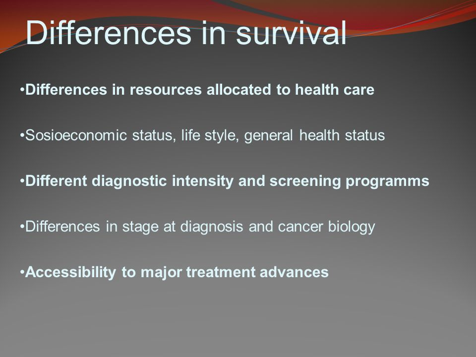 Differences in survival Differences in resources allocated to health care Sosioeconomic status, life style, general health status Different diagnostic intensity and screening programms Differences in stage at diagnosis and cancer biology Accessibility to major treatment advances