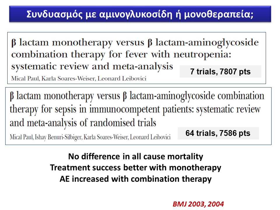 7 trials, 7807 pts 64 trials, 7586 pts No difference in all cause mortality Treatment success better with monotherapy AE increased with combination therapy BMJ 2003, 2004 Συνδυασμός με αμινογλυκοσίδη ή μονοθεραπεία;