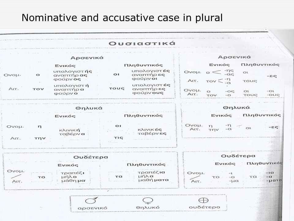 Nominative and accusative case in plural