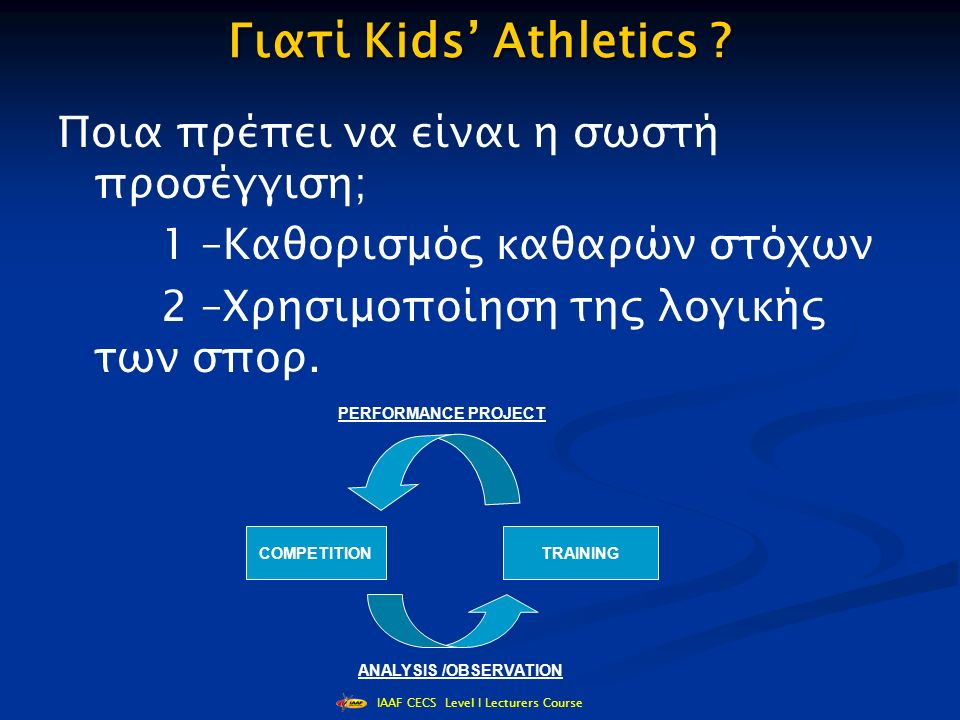 IAAF CECS Level I Lecturers Course Γιατί Kids' Athletics .