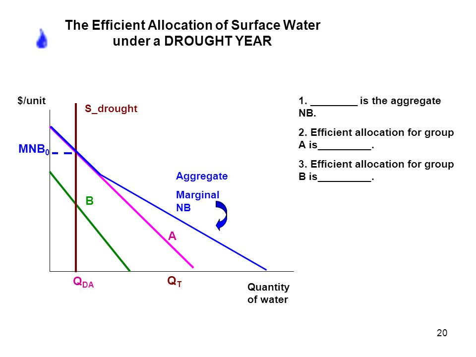 20 The Efficient Allocation of Surface Water under a DROUGHT YEAR 1.