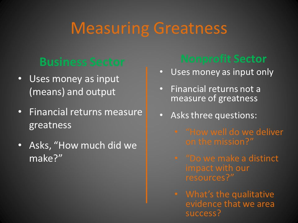 Measuring Greatness Business Sector Uses money as input (means) and output Financial returns measure greatness Asks, How much did we make Nonprofit Sector Uses money as input only Financial returns not a measure of greatness Asks three questions: How well do we deliver on the mission Do we make a distinct impact with our resources What's the qualitative evidence that we area success