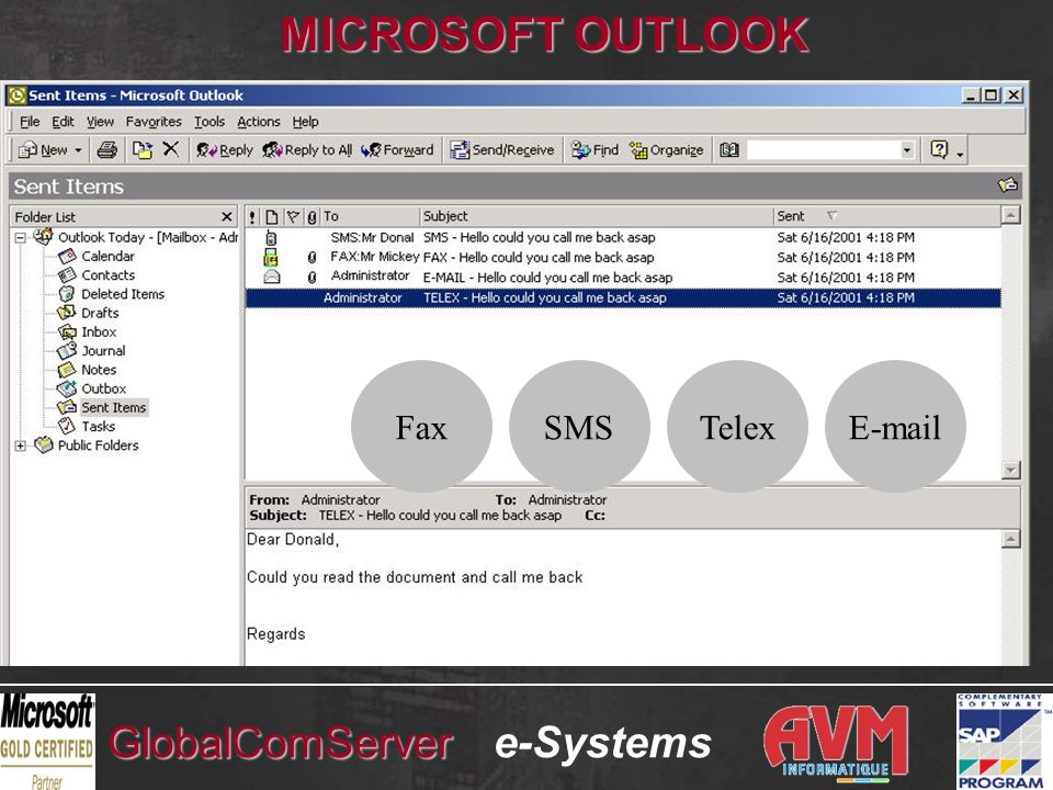 e-SystemsGlobalComServer FaxSMSTelex MICROSOFT OUTLOOK