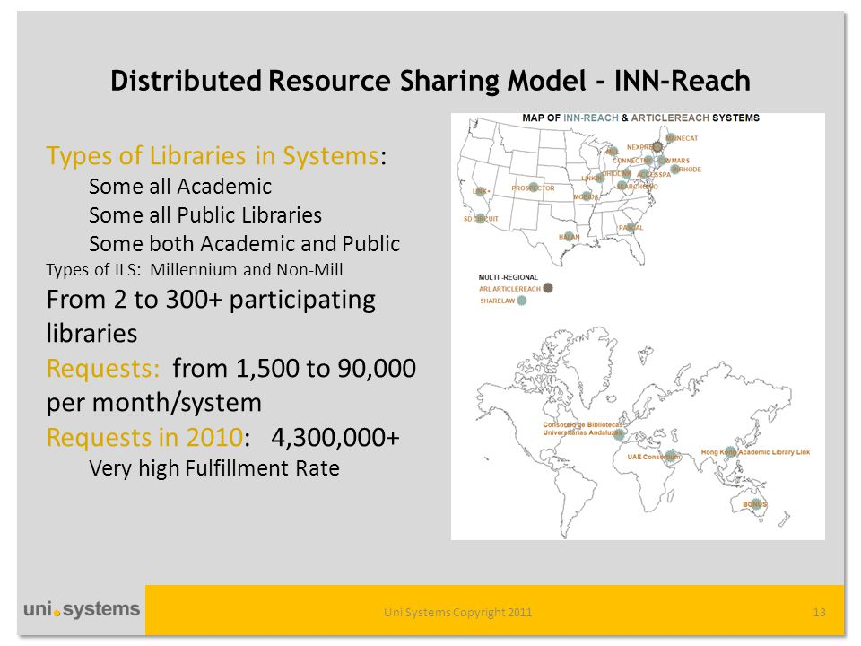 Distributed Resource Sharing Model - INN-Reach Uni Systems Copyright 201113 Types of Libraries in Systems: Some all Academic Some all Public Libraries Some both Academic and Public Types of ILS: Millennium and Non-Mill From 2 to 300+ participating libraries Requests: from 1,500 to 90,000 per month/system Requests in 2010: 4,300,000+ Very high Fulfillment Rate
