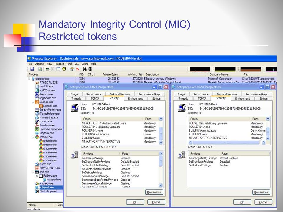 Mandatory Integrity Control (MIC) Restricted tokens