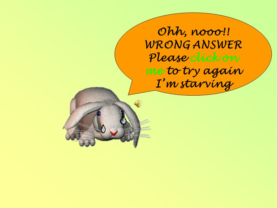 Ohh, nooo!! WRONG ANSWER Please click on me to try again I'm starving