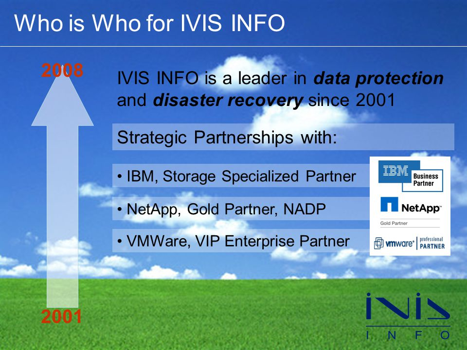 Who is Who for IVIS INFO 2001 2008 IVIS INFO is a leader in data protection and disaster recovery since 2001 Strategic Partnerships with: • IBM, Storage Specialized Partner • NetApp, Gold Partner, NADP • VMWare, VIP Enterprise Partner