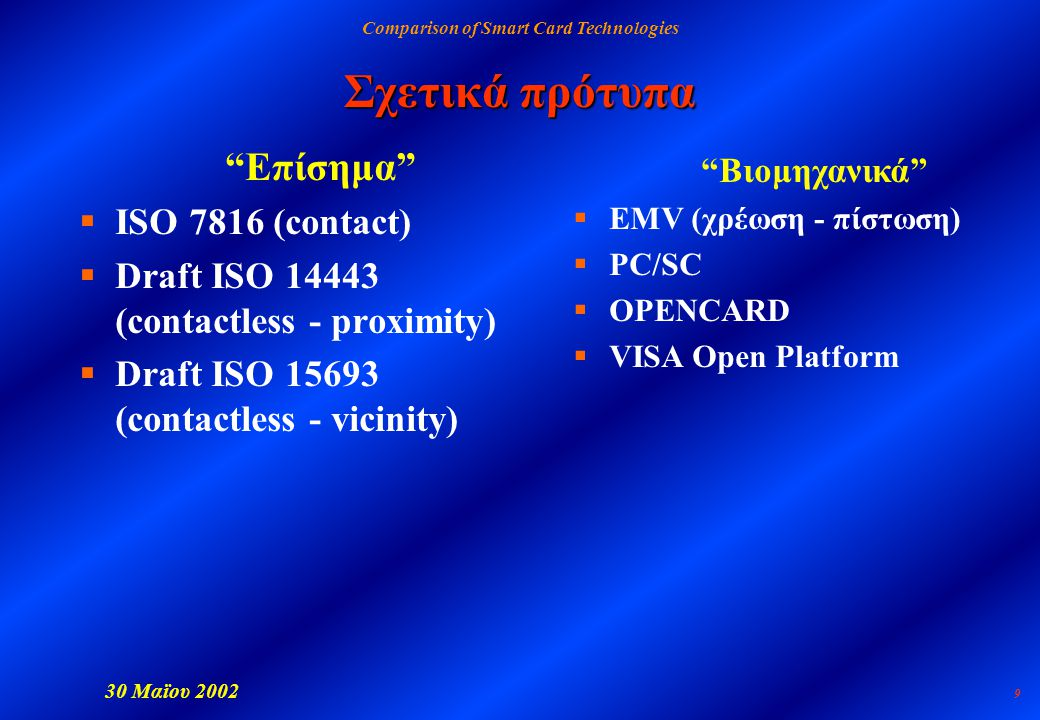 Comparison of Smart Card Technologies 30 Μαϊου 2002 9 Σχετικά πρότυπα Επίσημα  ISO 7816 (contact)  Draft ISO 14443 (contactless - proximity)  Draft ISO 15693 (contactless - vicinity) Βιομηχανικά  EMV (χρέωση - πίστωση)  PC/SC  OPENCARD  VISA Open Platform