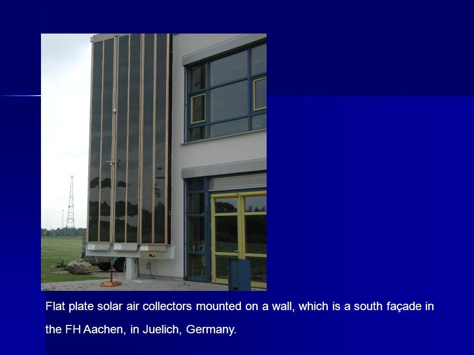 Flat plate solar air collectors mounted on a wall, which is a south façade in the FH Aachen, in Juelich, Germany.