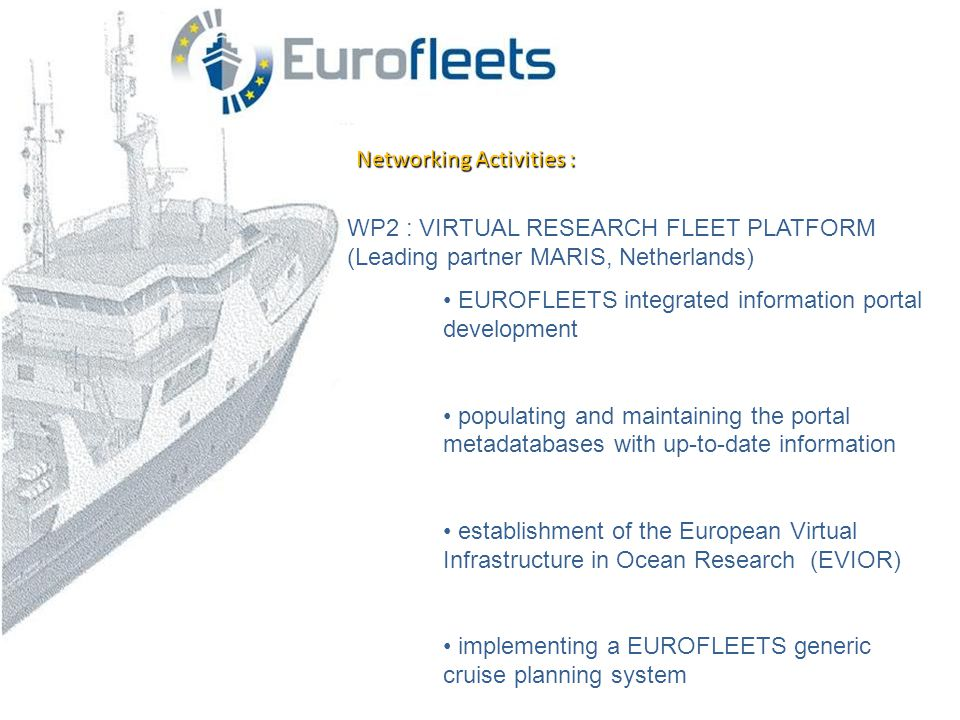 Networking Activities : WP2 : VIRTUAL RESEARCH FLEET PLATFORM (Leading partner MARIS, Netherlands) • EUROFLEETS integrated information portal development • populating and maintaining the portal metadatabases with up-to-date information • establishment of the European Virtual Infrastructure in Ocean Research (EVIOR) • implementing a EUROFLEETS generic cruise planning system