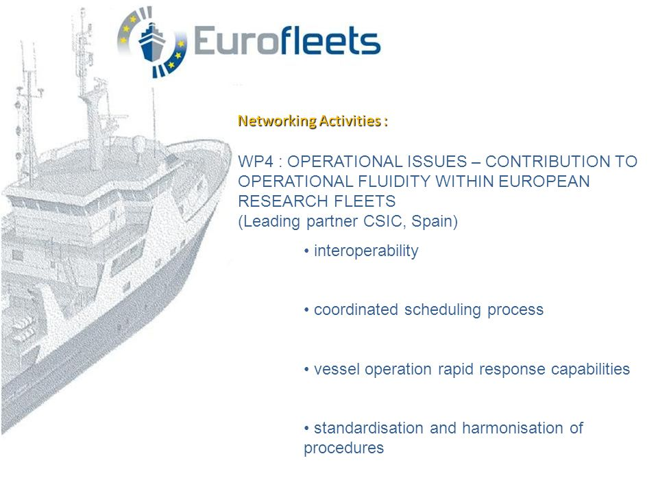 Networking Activities : WP4 : OPERATIONAL ISSUES – CONTRIBUTION TO OPERATIONAL FLUIDITY WITHIN EUROPEAN RESEARCH FLEETS (Leading partner CSIC, Spain) • interoperability • coordinated scheduling process • vessel operation rapid response capabilities • standardisation and harmonisation of procedures