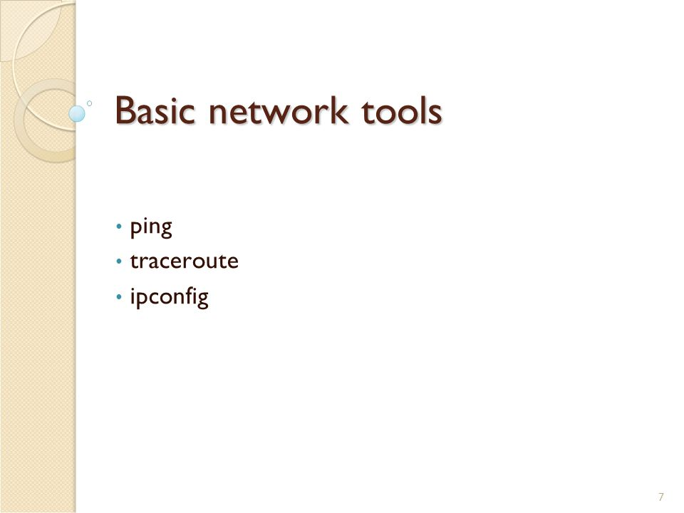 7 Basic network tools ping traceroute ipconfig