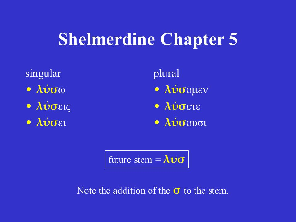 Shelmerdine Chapter 5 singular λύσ ω λύσ εις λύσ ει plural λύσ ομεν λύσ ετε λύσ ουσι future stem = λυσ Note the addition of the σ to the stem.
