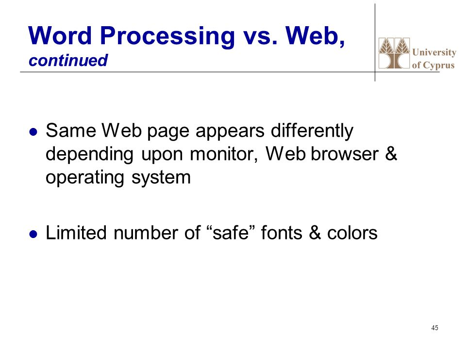 45 Word Processing vs.