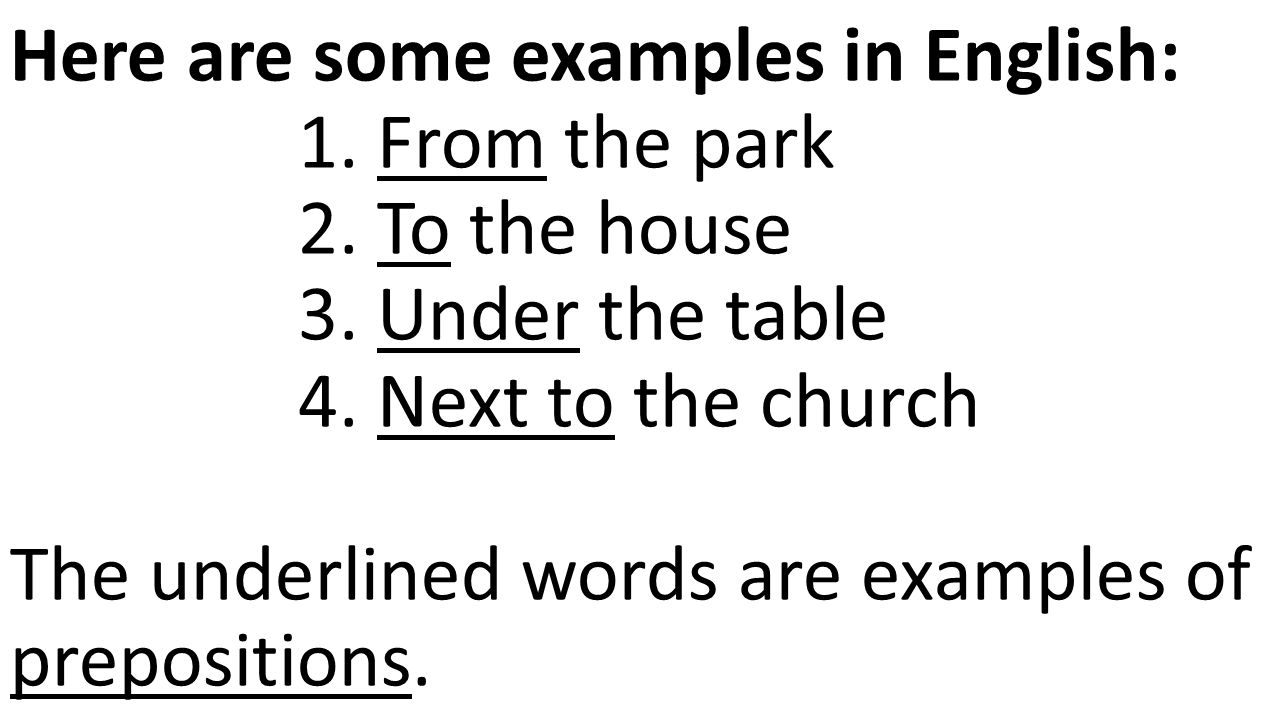 Here are some examples in English: 1. From the park 2.