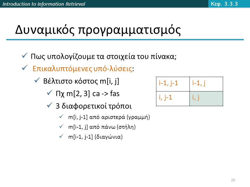 Introduction to Information Retrieval Δυναμικός προγραμματισμός Κεφ.