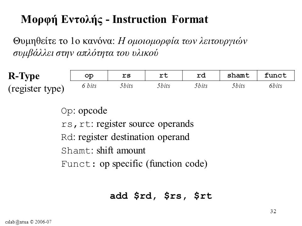 cslab@ntua © 2006-07 32 Μορφή Εντολής - Instruction Format Θυμηθείτε το 1ο κανόνα: Η ομοιομορφία των λειτουργιών συμβάλλει στην απλότητα του υλικού oprsrtrdshamtfunct 6 bits5bits 6bits R-Type (register type) Op : opcode rs,rt : register source operands Rd : register destination operand Shamt : shift amount Funct: op specific (function code) add $rd, $rs, $rt
