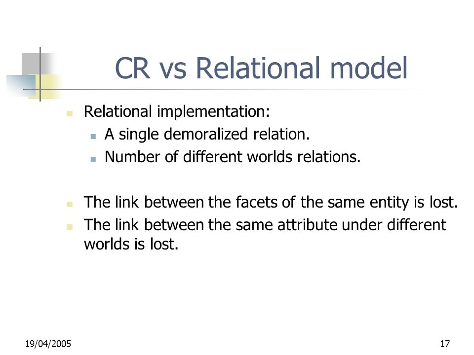 19/04/ CR vs Relational model Relational implementation: A single demoralized relation.