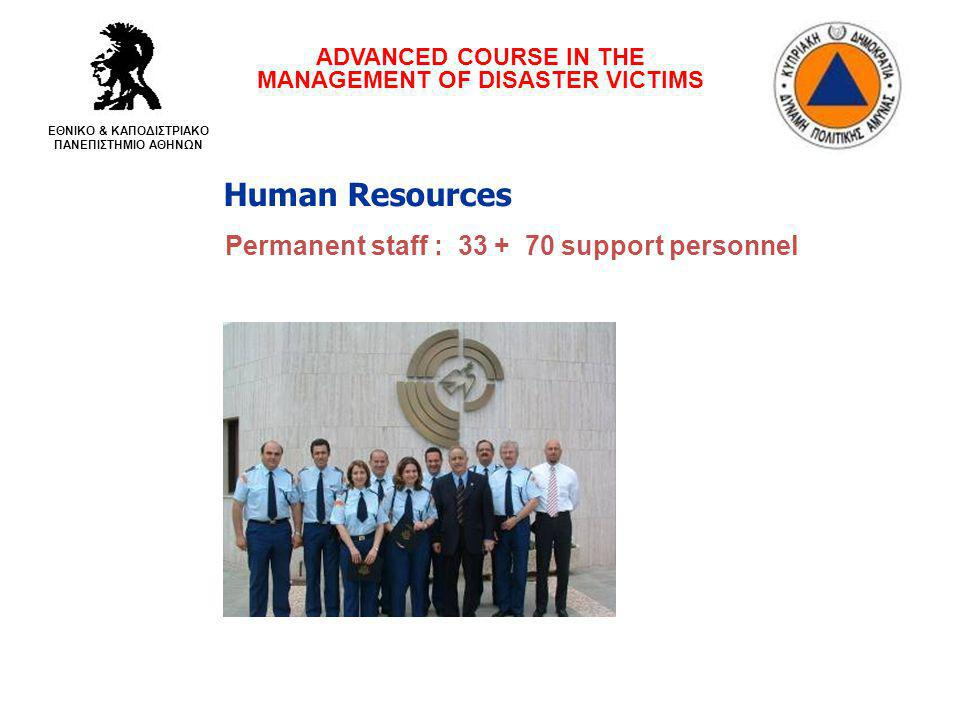 Human Resources Permanent staff : 33 + 70 support personnel ADVANCED COURSE IN THE MANAGEMENT OF DISASTER VICTIMS ΕΘΝΙΚΟ & ΚΑΠΟΔΙΣΤΡΙΑΚΟ ΠΑΝΕΠΙΣΤΗΜΙΟ ΑΘΗΝΩΝ